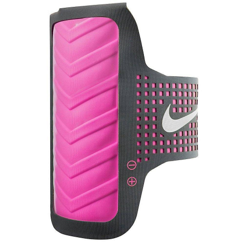 713р. 2590р. NIKE WOMEN'S DISTANCE ARM BAND APPLE OSFM ANTHRACITE/VIVID PINK, чехол на руку, (081) т.сер/т.роз