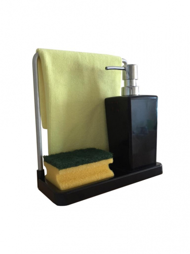 LUNA Диспенсер (чёрный) для моющего средства объёмом 420 мл с вращающейся вешалкой для тряпки. (нержавеющая сталь)
