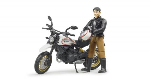 Мотоцикл Scrambler Ducati Desert Sled с мотоциклистом