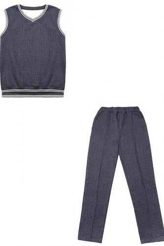 Костюм #199337Гусиная лапка мелкая текстильная синий+полоска белая на темно-синем99