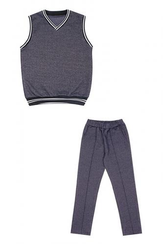 Комплект (жилет+брюки) #256757Твид синий+полоска белая на темно-синем99