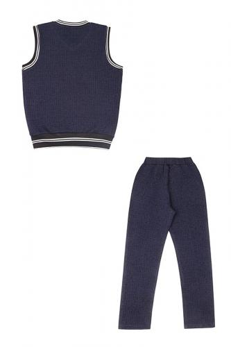 Комплект (брюки+жилет) #234522Лабиринт синий+полоска черный+белый