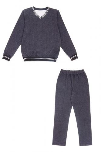Костюм (пуловер+брюки) #228300Гусиная лапка мелкая текстильная синий+полоска белая на темно-синем99