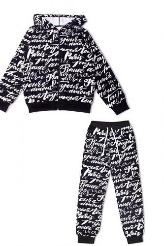 Костюм (толстовка+брюки) #246103Росчерк белый+черный