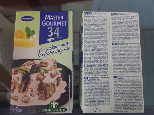 Сливки 34% Master Gourmet 34. 1л