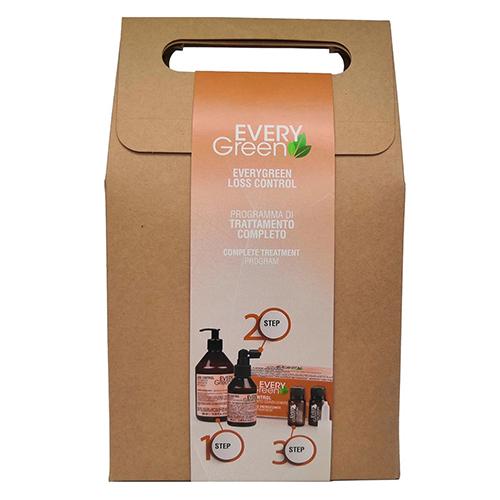 Набор продуктов против выпадения волос  EveryGreen Loss Control (шампунь 250мл+сыворотка 100мл+ампулы 8х8мл)