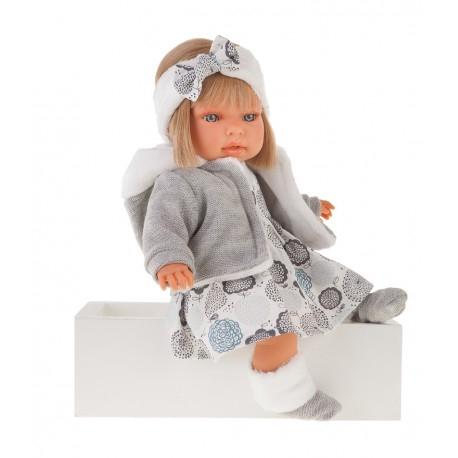1561G Кукла Валентина в сером озвученная (мама, папа, смех), 37см