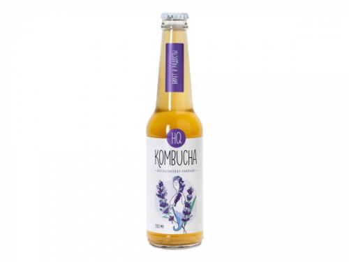 HQ Kombucha Напиток безалкогольный «Лаванда с цедрой апельсина», 0,33л. стекл.бут. 1/12