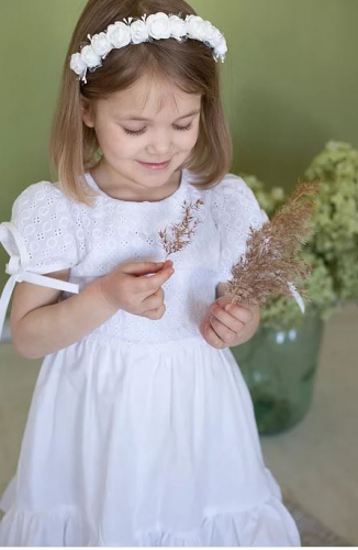 платье для девочки Л21-3 Белла белый поплин