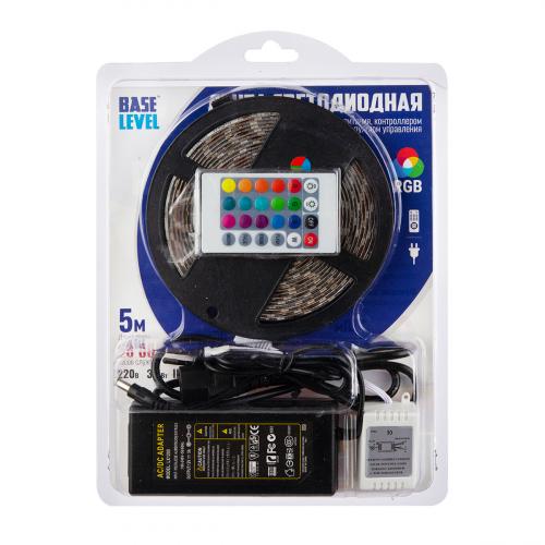 1 шт.будет в наличии/Комплект светодиодной ленты Base-level (5 м, RGB, 5050, 3,5 Вт, адаптер с трансформ., пульт)