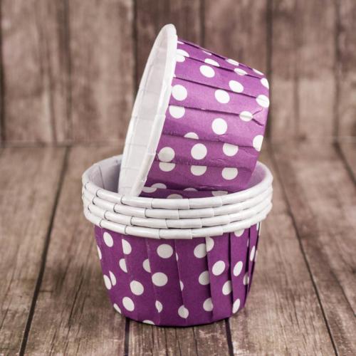 Мини-капсулы для маффинов с бортиком Polca Dot Фиолетовые горох 38*30 мм, шт