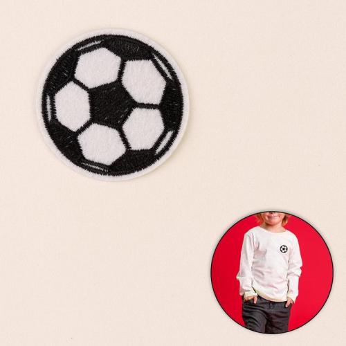 Термоаппликация «Футбольный мячик», d = 5,1 см, цвет чёрный/белый