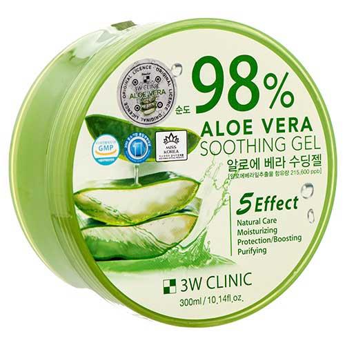Многофункциональный успокаивающий гель с алоэ вера 98 % 3W CLINIC Aloe Vera Soothing Gel 300 ml