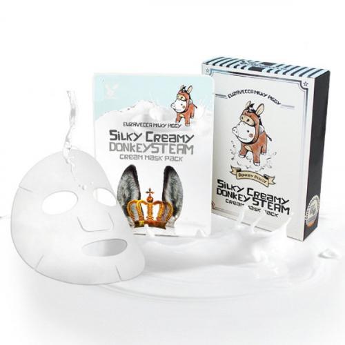 Маска-салфетка с паровым кремом на основе ослиного молока ELIZAVECCA Milky Piggy Silky Creamy Donkey Steam Cream Mask Pack 25 ml