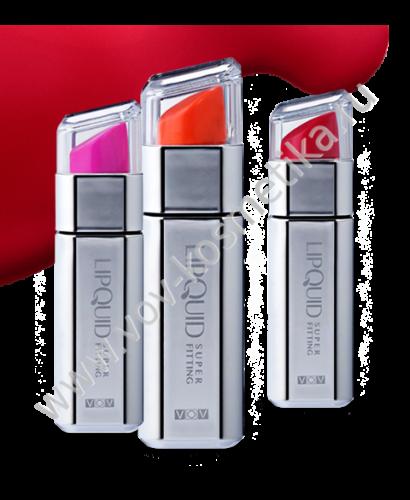 Помада-блеск VOV Super Fitting Lipquid 6 ml (серебряный кейс)