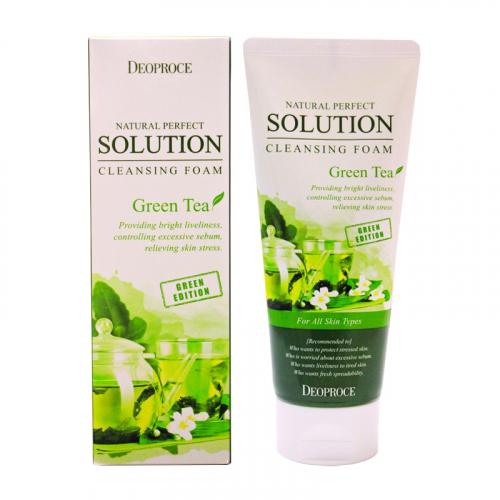 DEOPROCE Пенка для умывания зеленый чай Natural Perfect Solution Cleansing Foam Green Tea 170 g