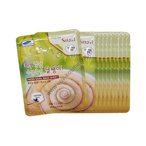 Маска-салфетка 3W Clinic Fresh Mask Sheet (snail - слизь улитки) 23ml