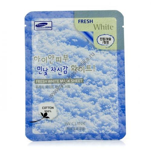 Маска-салфетка 3W Clinic Fresh Mask Sheet (white - отбеливающая) 23ml