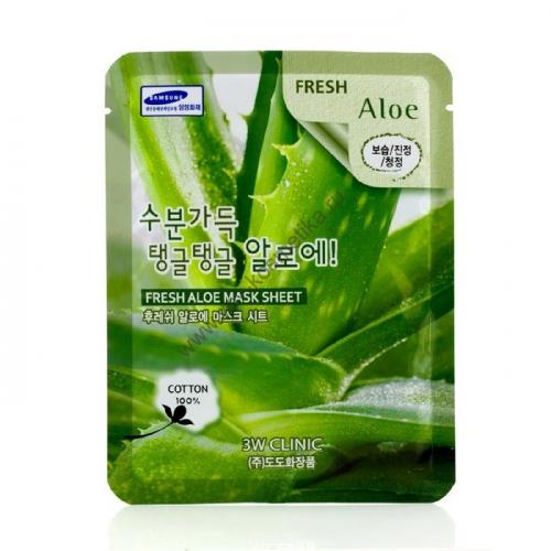 Маска-салфетка 3W Clinic Fresh Mask Sheet (aloe - алоэ) 23 ml
