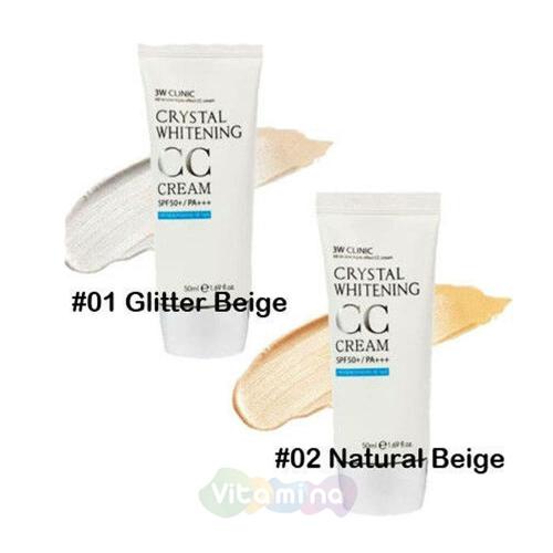 Маскирующий СС крем с эффектом осветления кожи 3W CLINIC  Crystal Whitening CC Cream SPF 40/PA+++ 50ml