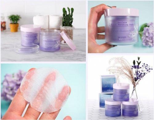 Пэды для лица успокаивающие с азуленом Petitfee Azulene Ultra Soothing Pads 70 pads (160 ml)