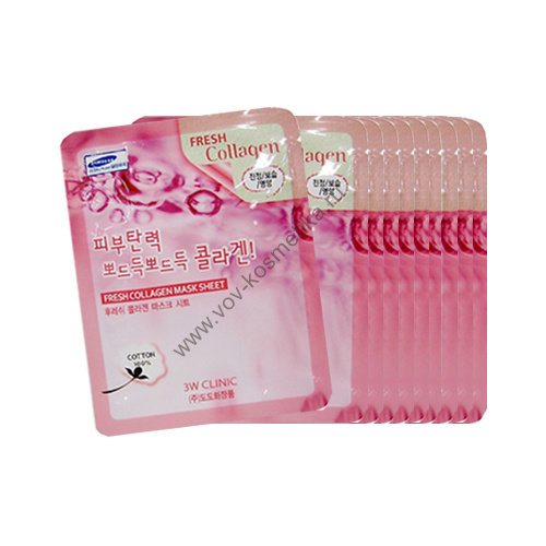 Маска-салфетка 3W Clinic Fresh Mask Sheet (collagen - коллаген) 23ml