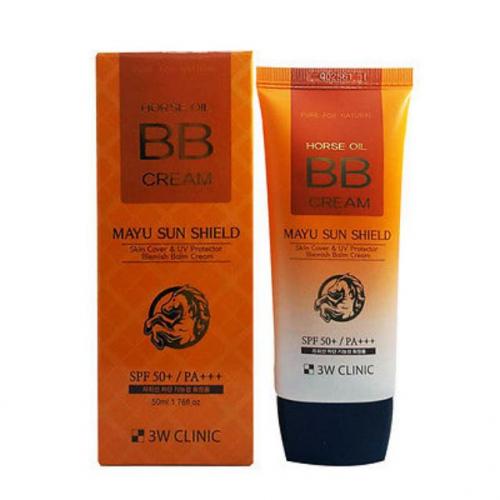 ВВ крем для лица солнцезащитный с лошадинным жиром 3W CLINIC Horse Oil BB Cream SPF50+/PA+++ 50 ml