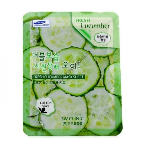 Маска-салфетка 3W Clinic Fresh Mask Sheet (cucumber - огурец) 23ml
