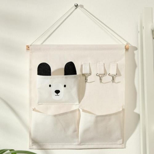 Органайзер с карманами подвесной Доляна «Мишка», 3 отделения, 30×34 см, цвет бежевый
