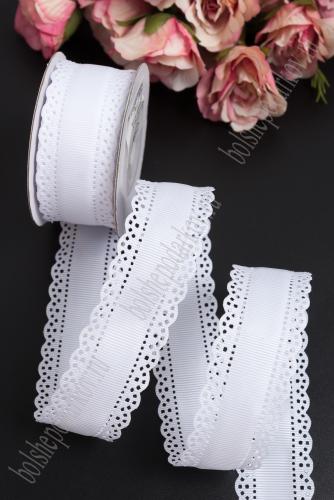 Лента репсовая с ажурными краями, 3 см (SF-1750) белый №01