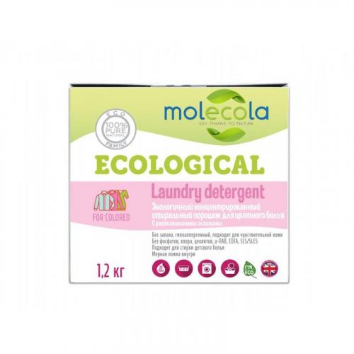 MOLECOLA Экологичный конц-ый стиральный порошок с растительными энзимами д/стирки цве-го белья,1,2кг