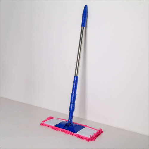 Швабра плоская Доляна «Ocean», телескопическая ручка 78-117 см, насадка микрофибра букли 42×13 см, цвет МИКС