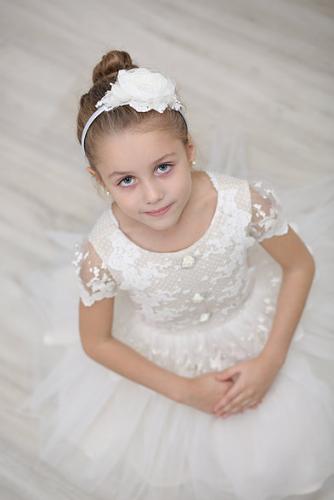 Платье для девочки Л 18-15 Эмилия белый горох