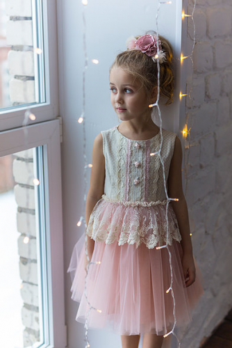 Платье для девочки Л 18-6 Новелла горох
