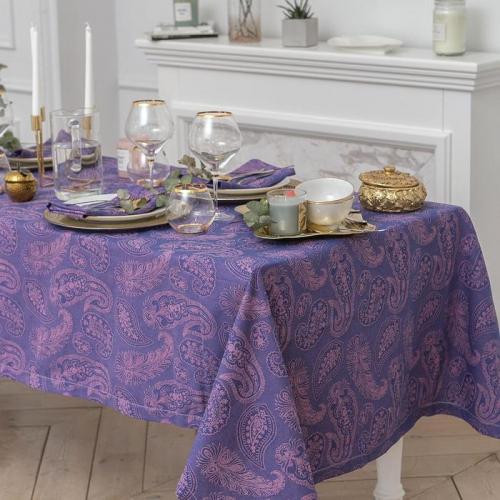 Набор столовый Этель «Огурцы», скатерть 135 × 180 см, салфетки 40 × 40 см, 6 шт., цвет фиалковый, 100%-ный хлопок с ВМГО