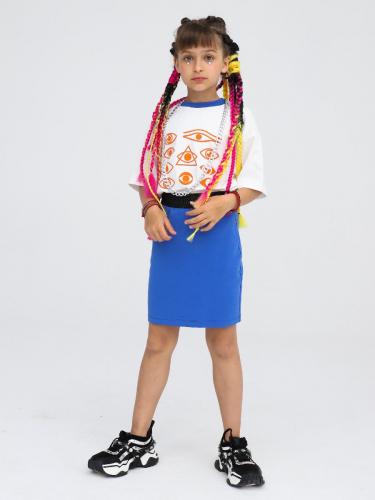 Комплект: футболка укороченная и юбка прямого силуэта 211202902