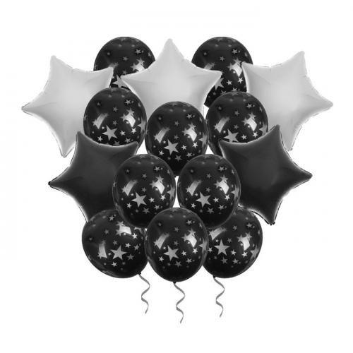 Букет из шаров «Ночь» фольга , латекс, лента, набор 15 шт., серебряные звёзды