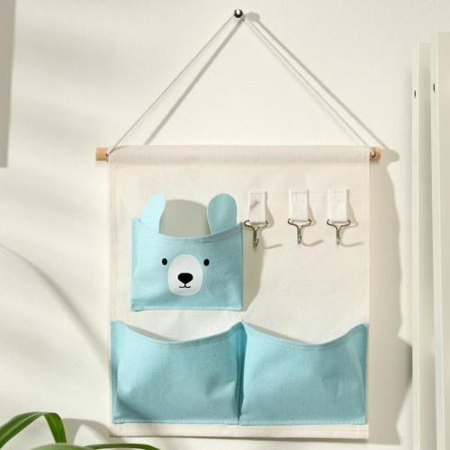 Органайзер с карманами подвесной «Мишка», 3 отделения, 30×34 см, цвет голубой
