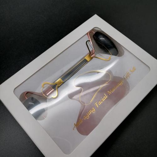 Подарочный набор Массажер для лица двусторонний + скрапер черный Агат и розовый кварц