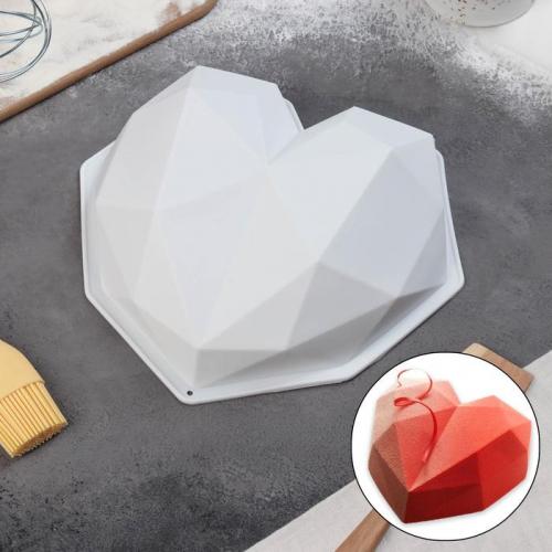 Форма для муссовых десертов и выпечки Доляна «Геометрия любви», 21,5×20 см, цвет белый