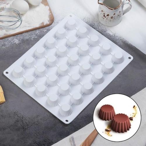 Форма для муссовых десертов и выпечки Доляна «Круг. Риб», 28×24 см, 30 ячеек (d=3,3 см), цвет белый