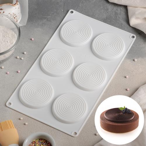 Форма для муссовых десертов и выпечки Доляна «Гипноз», 30×17,5 см, 6 ячеек, цвет белый