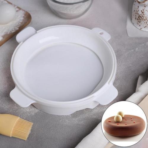 Форма для муссовых десертов и выпечки «Круг», 16×5 см, цвет белый