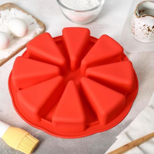 Форма для выпечки «Кусочки торта», 27,5×27,5 см, 8 ячеек (10×6,2 см), цвет МИКС