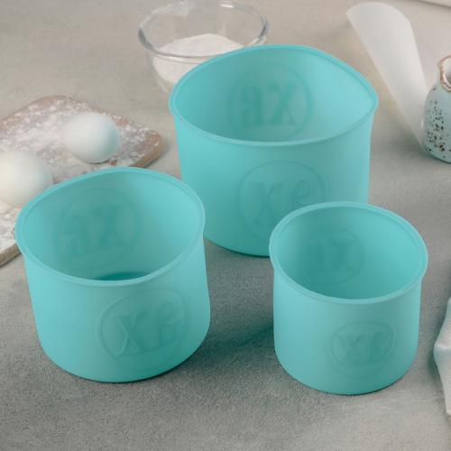 Набор форм для выпечки «Куличики», 3 шт: 9,5×9,5×8 см, 12×12×9 см, 14×14×10 см, цвет МИКС