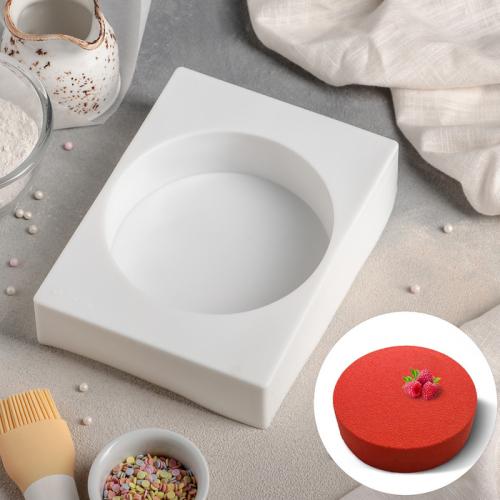 Форма для муссовых десертов и выпечки Доляна «Круг», 19×14,5 см, цвет белый
