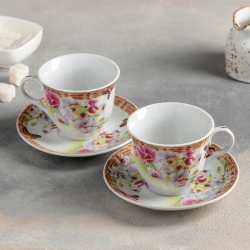 Сервиз чайный «Садовый дворик», 4 предмета: 2 чашки 250 мл, 2 блюдца