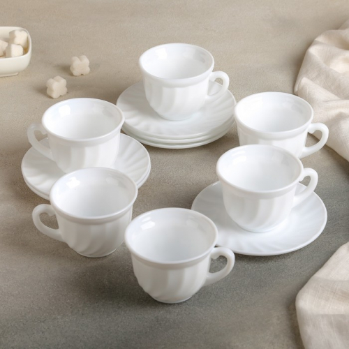 Сервиз чайный Доляна «Дива»,12 предметов: 6 чашек 190 мл, 6 блюдец, опаловое стекло
