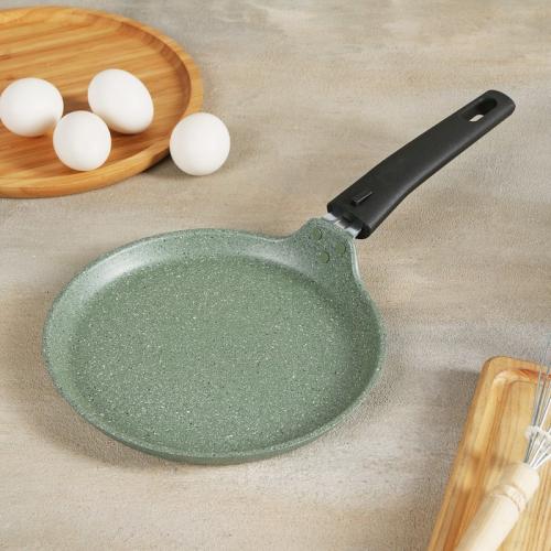 Сковорода блинная d=20 см, фисташковый мрамор