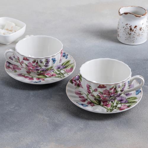 Набор чайный «Колокольчики», 4 предмета: чашка 250 мл, блюдца